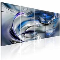 Schilderij - Verwarring in vijf delen, blauw , zilver look , 5 luik