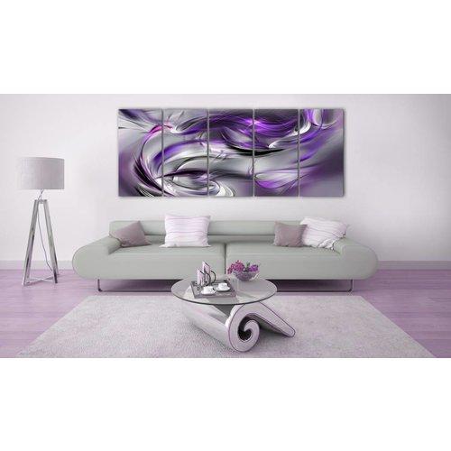 Schilderij - Paars in vijf delen , zilver look ,  5 luik