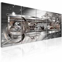Schilderij - Silver Shine  225x90cm , zilver look , 5 luik