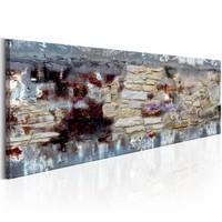 Schilderij - Stenen tijd 150X50 , bruin grijs , steen look , 1 luik