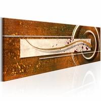 Schilderij - Gouden toon 150X50 , bruin beige , 1 luik