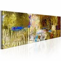 Schilderij - Sterren Schat 150X50cm , geel blauw , 1 luik