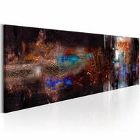 Canvas Schilderij - Abstracte Lucht 150X50 , bruin , blauw , 1 luik