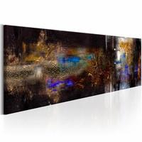 Schilderij - Gouden Versterking 150X50 , bruin blauw , 1 luik