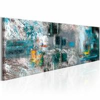 Schilderij - Artistieke Verbeelding 150X50 , blauw wit , 1 luik