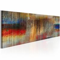 Schilderij - Kleurrijke storm 150X50cm , multi kleur