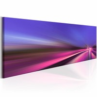 Schilderij - Moderne Haven 150X50cm , blauw roze , 1 luik
