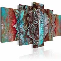 Schilderij - Koning van de Jungle  , multi kleur , 5 luik
