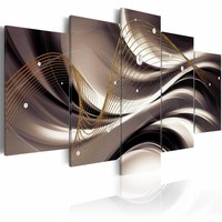 Schilderij - Abstracte golven , wit bruin , 5 luik , 2 maten