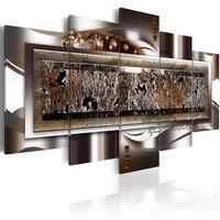 Schilderij - Kroon van Parels , zilver look , 5 luik , 2 maten