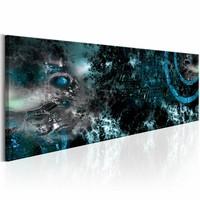 Schilderij - Diepe Wateren 150X50 , blauw zwart , 1 luik