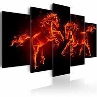 Schilderij - Vlammende paarden , zwart rood , 5 luik , 2 maten