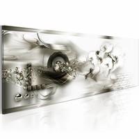 Schilderij - Bevroren Herinneringen 150X50cm  , wit zilver look , 1 luik
