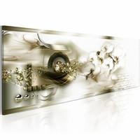 Schilderij - Korte Herinneringen 150X50cm , wit goud look , 1 luik