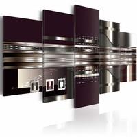 Schilderij - Abstract moment, 5 luik, Paars/Grijs/Beige, 2 maten, Premium print