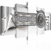 Schilderij - Riem van diamanten , abstract , zilver look , 5 luik
