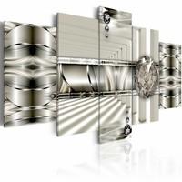 Schilderij - De weg van diamanten , abstract , zilver look , 5 luik , 2 maten