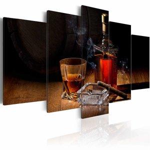 Schilderij - Mannen avond, sigaar en whisky , bruin zwart , 5 luik , 2 maten