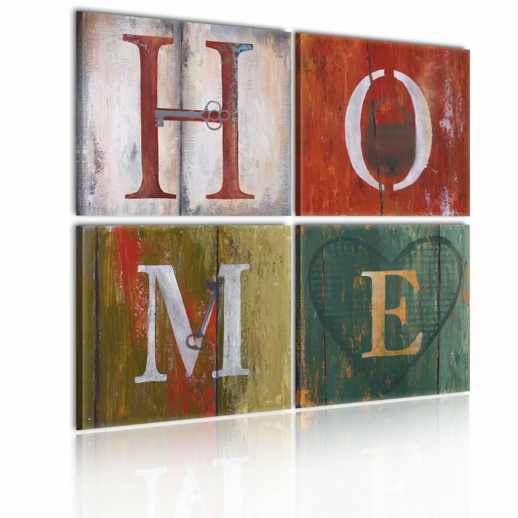 Schilderij - Home , multi kleur , 4 luik