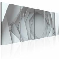 Schilderij - Geen Uitweg  , grijs  wit , abstract , 5 luik