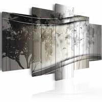 Schilderij - Bomen en vogels, abstract , 5 luik