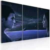 Schilderij - Magnetische blik, Blauw, 2 Maten, 3luik
