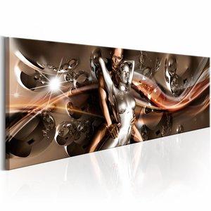 Schilderij - Golven van Passie 150X50cm , bruin goud look , 1 luik