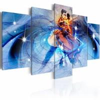 Schilderij - Liefdes Dans , blauw , 5 luik
