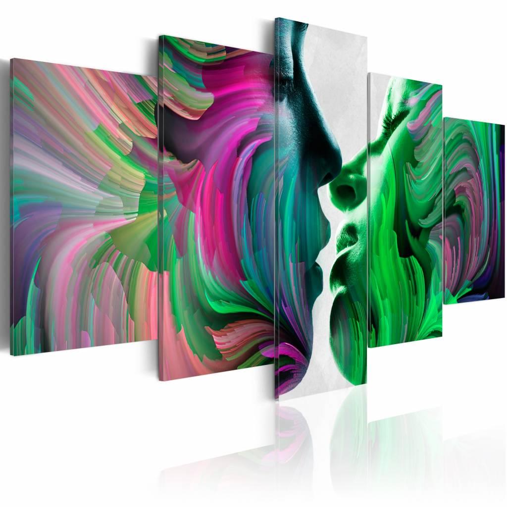 Schilderij - Kleuren van Liefde , kus , multi kleur , 5 luik