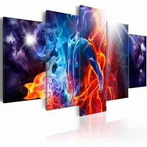 Schilderij - Kus met passie, Multi-gekleurd, 2 Maten, 5luik