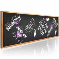 Schilderij - Optimistische Schoolbord 150X50cm , zwart wit , 1 luik
