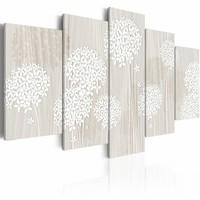 Canvas Schilderij - Zachtaardige natuur , wit , 5 luik , 2 maten