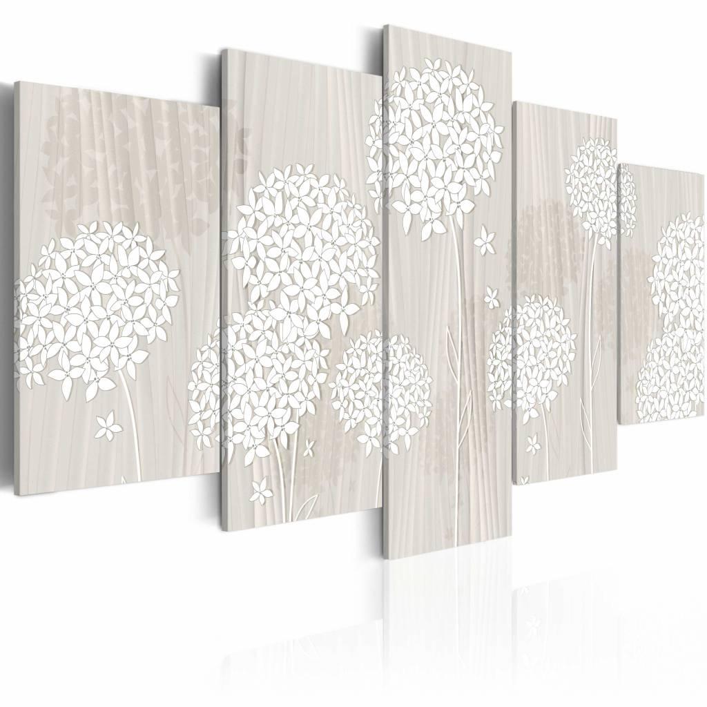 Schilderij - Zachtaardige natuur , wit , 5 luik