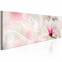 Schilderij - Romantische Melodie  , wit roze ,  lelie