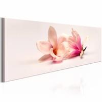 Schilderij - Prachtige Magnolia 150X50cm , roze wit , 1 luik