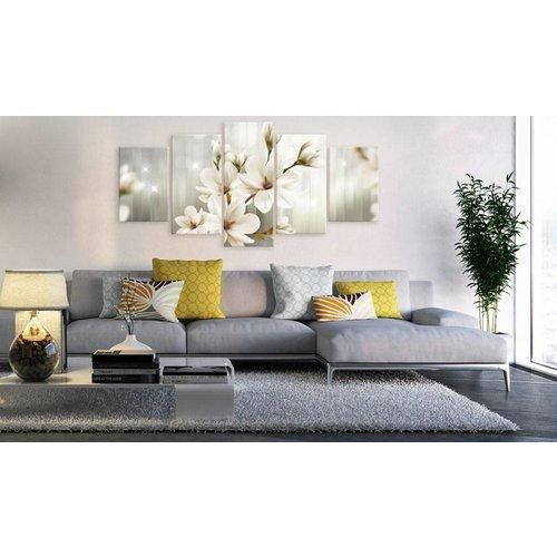 Schilderij - Sprookjes ochtend , magnolia , wit , 5 luik