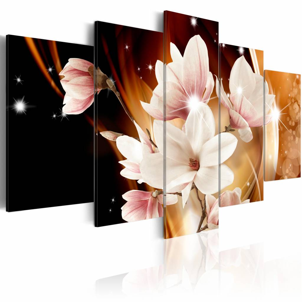 Schilderij - Verlichting (Magnolia) , wit bruin , 5 luik