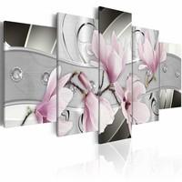 Schilderij - Stalen Magnolia , grijs roze , staal look , 5 luik