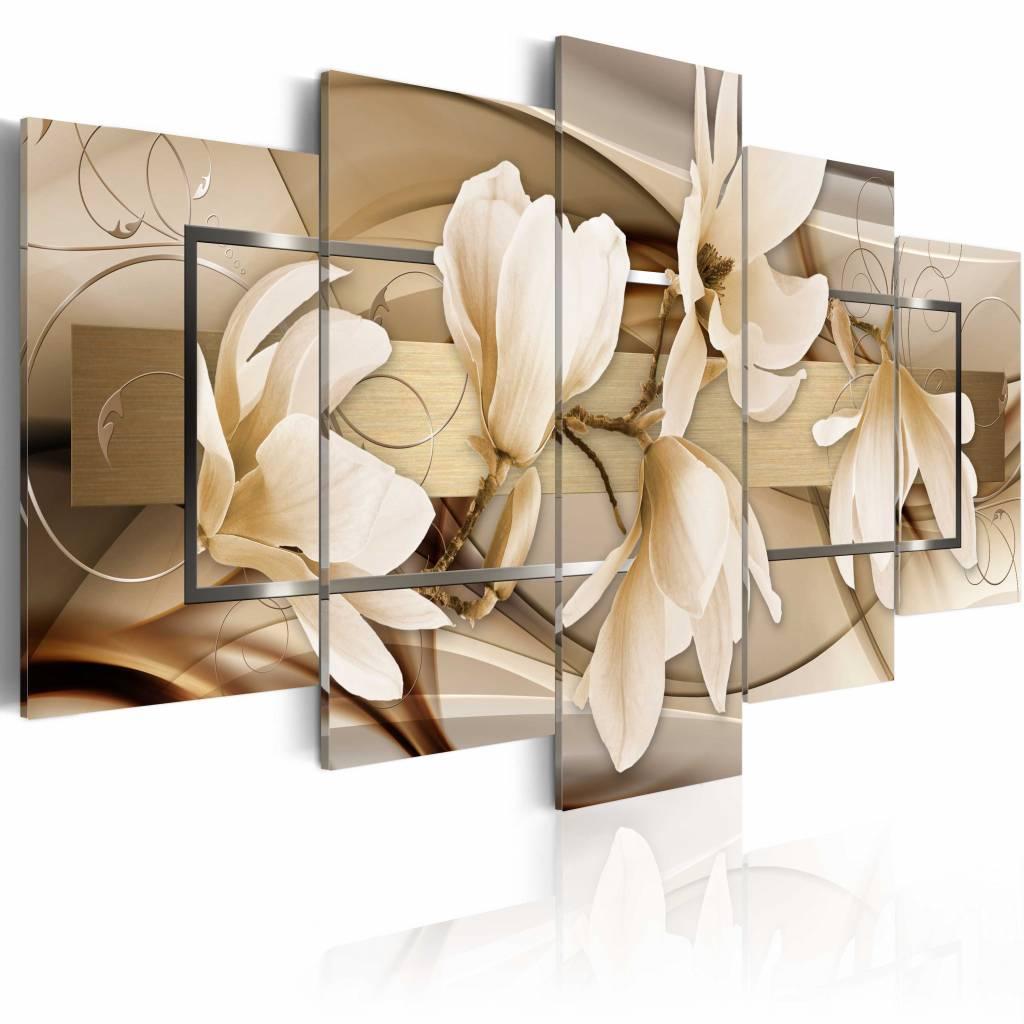 Schilderij - Dans van bloemen , bruin wit , magnolia , 5 luik