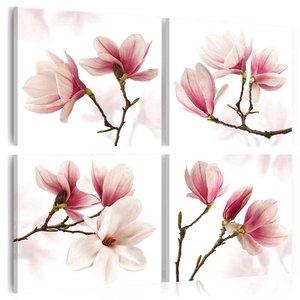 Canvas Schilderij - Romantisch Roze , wit , magnolia , 4 luik , 3 maten
