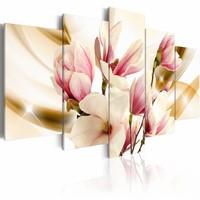 Schilderij - Zucht van de zachtheid , wit roze , 5 luik