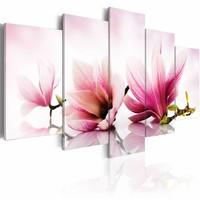 Schilderij - Magnolia: roze bloemen , wit , 5 luik