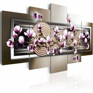 Schilderij - Magnolia en zen , wit bruin , 5 luik