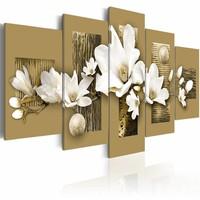 Canvas Schilderij - Magnolia tuin , bruin wit , 5 luik , 2 maten