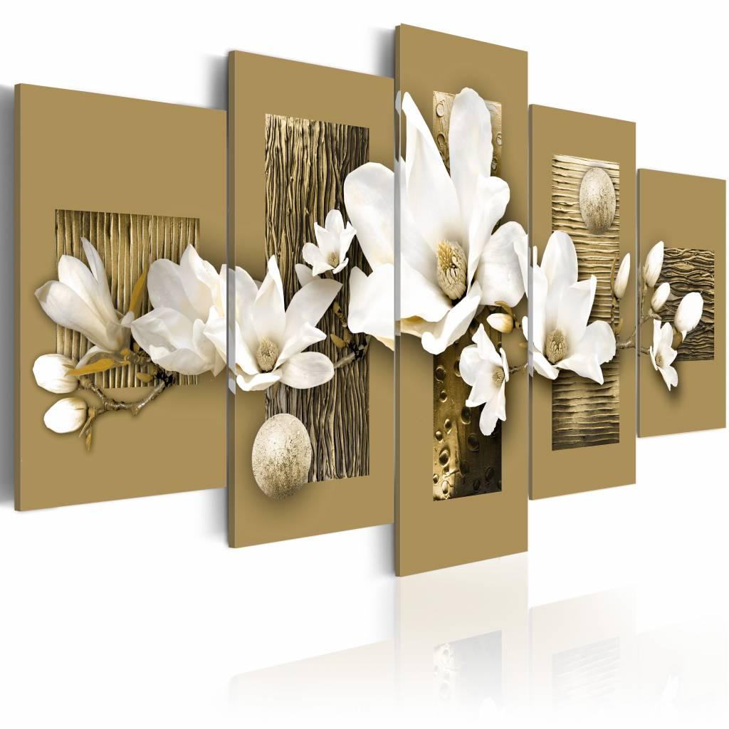 Schilderij - Magnolia tuin , bruin wit , 5 luik
