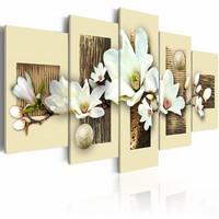 Schilderij - Textuur en magnolia , wit beige , 5 luik , 2 maten