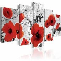 Canvas Schilderij - Klaprozen , rood wit , 5 luik , 2 maten