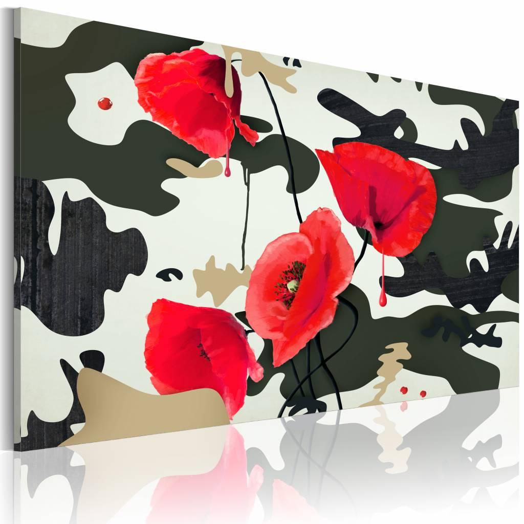 Schilderij - Camouflagekleur, klaproos