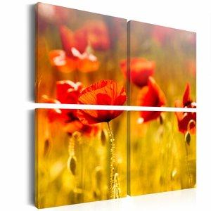 Canvas Schilderij - Zomertijd , klaproos , groen rood , 4 luik , 2 maten