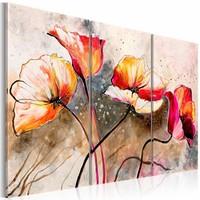 Canvas Schilderij - Klaprozen gegeseld door de wind , oranje beige , 3 luik , 2 maten